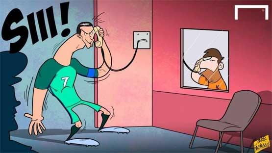 کریخوانی رونالدو برای مسی در زندان +کاریکاتور , حاشیه ورزشی