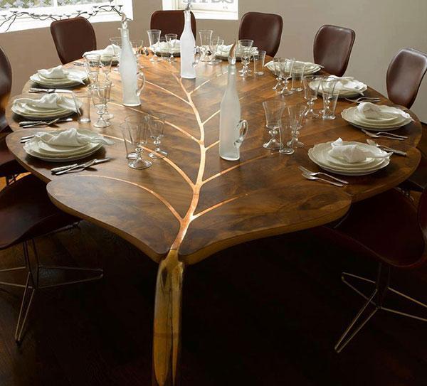 میز نهار خوری چوبی گرد