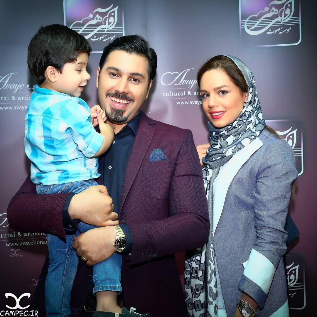 احسان خواجه امیری و همسرش لیلا ربانی و پسرش