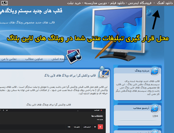 محل قرار گرفتن لینک های متنی در سیستم وبلاگ دهی لاین بلاگ
