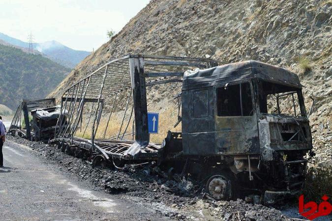 حمله تروريست ها به کاروان باري در مرز ايران و ترکي                تصویر  ۳