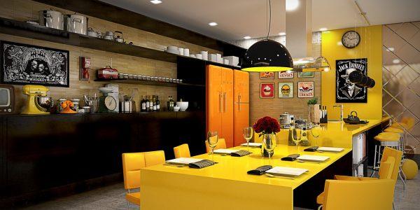 کابینت آشپزخانه رنگ زرد5