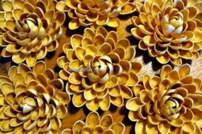ایده استفاده از پوست پسته و سی دی برای درست کردن گل و تابلو  اموزش کاردستی گل پسته ای استفاده از مواد دور ریختنی برای خلاقیت کاردستی kardasti dorrikhtani bazyaft