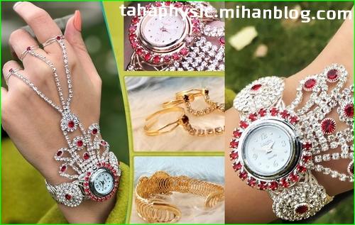 ساعت مچی جدید دستبندی و انگشتری زنانه دخترانه نقره ای طلایی
