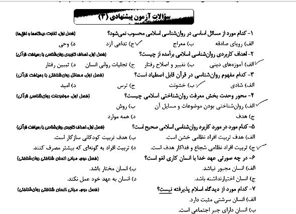 دانلود جزوه خلاصه کتاب روانشناسی در قرآن ( آموزه ها و مفاهیم ) محمد کاویانی + pdf دانشگاه پیام نور نمونه سوالات تستی