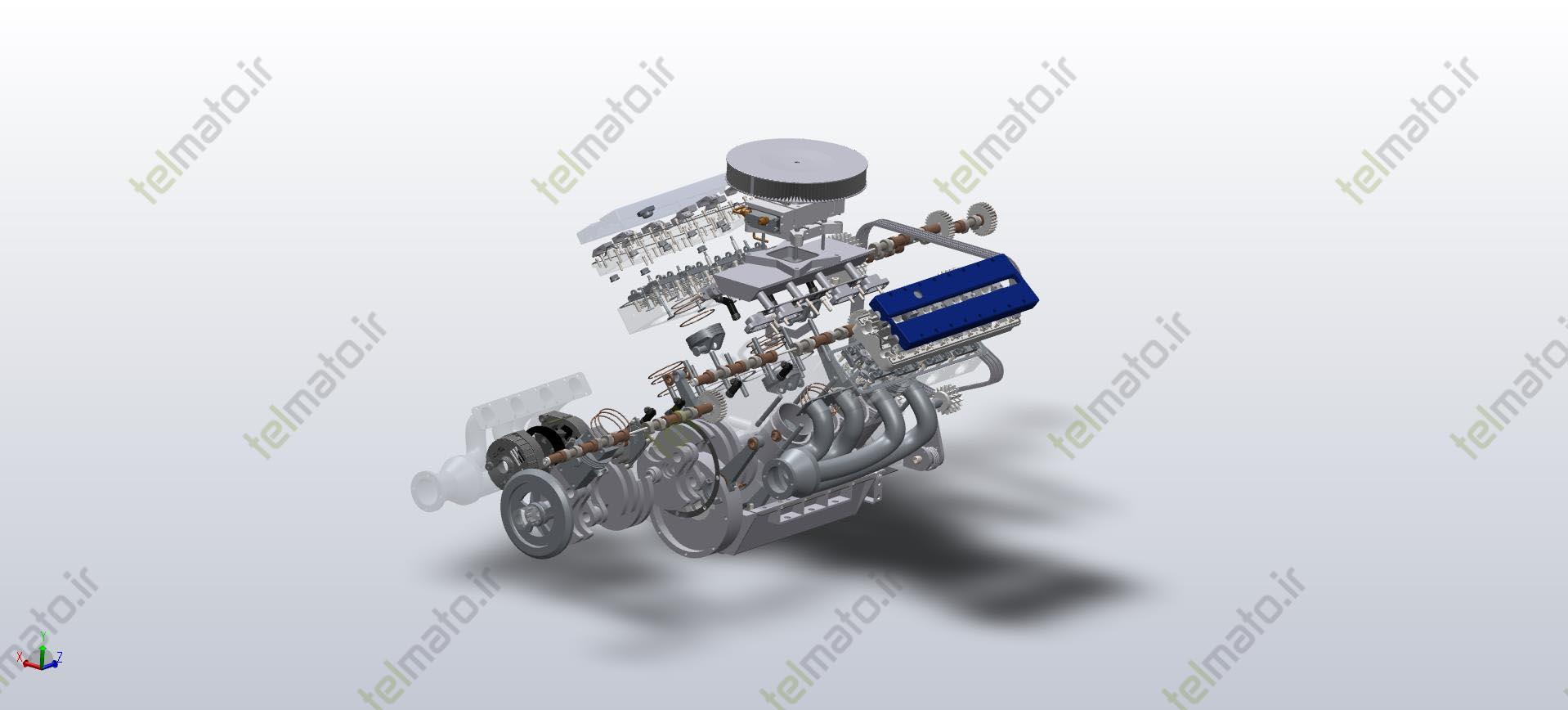 دانلود پروژه طراحی شده موتور خورجینی ( V شکل ) 8 سیلندر در نرم افزار سالیدورک solidwork + فایل