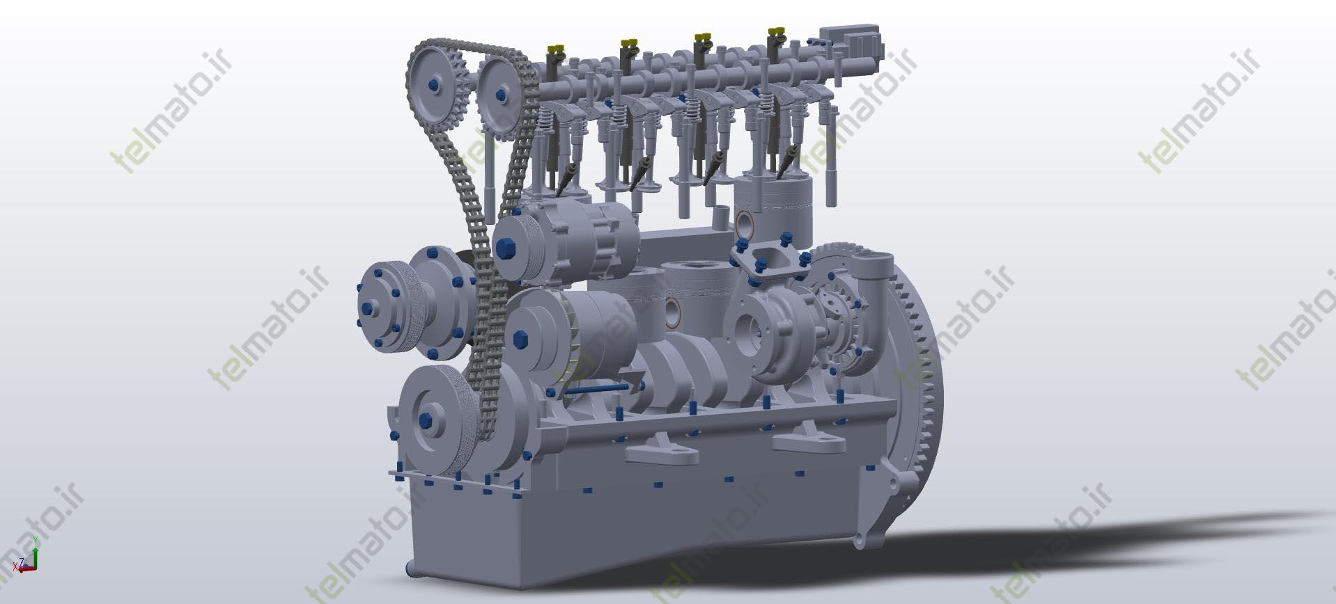 دانلود پروژه طراحی شده موتور چهار ( 4) سیلندر خطی بنزینی توسط گروه تلماتو
