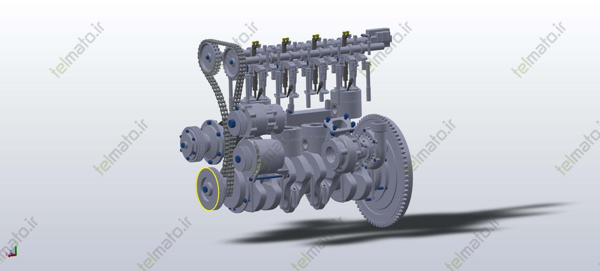 اجزای موتور 4 سیلندر طراحی شده توسط گروه تلماتو