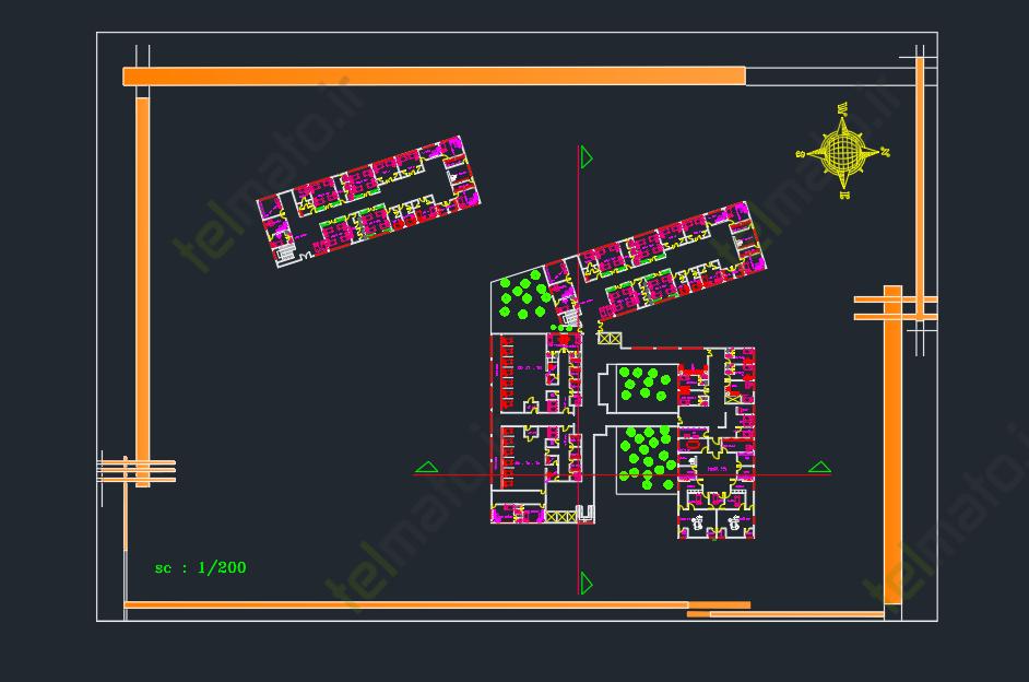 دانلود پلان آماده و نقشه طراحی شده بیمارستان در نرم افزار اتوکد autocad + فایل
