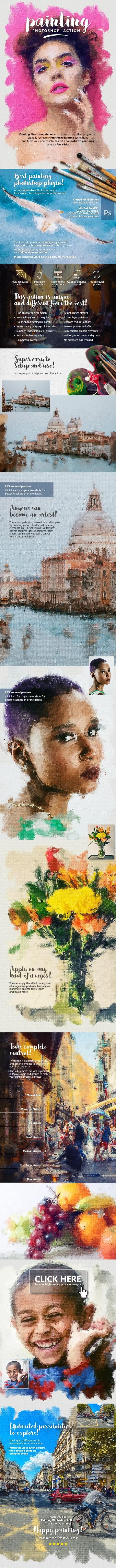 اکشن فتوشاپ تبدیل عکس به نقاشی رنگ روغن