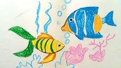 Painting animals for kids - Painting for kids - How to draw a fish for kids - Art for kids