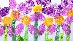 Sponge Painting - flowers - art ideas for parents and teachers
