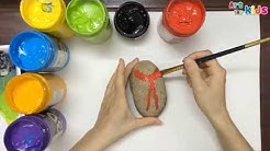 Rock painting for kids - Hand painted rocks a cute beetle - Rock painting ideas - Art for kids