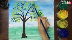 How to draw tree for kids - Landscape painting for children - Art for kids