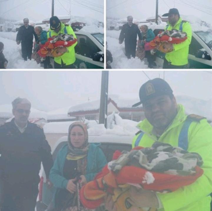 نجات مادر و کودک املشی گرفتار در برف