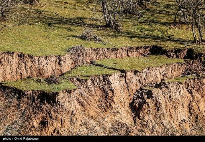 رانش زمین در روستای سلجه چال گیلان
