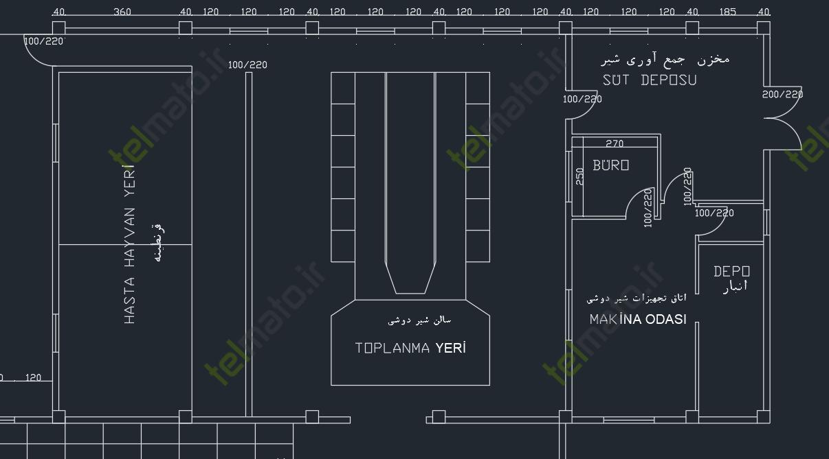 دانلود نقشه اتوکد طراحی شده سالن گاوداری شیری صنعتی + فایل سه پلان دامداری | تلماتو